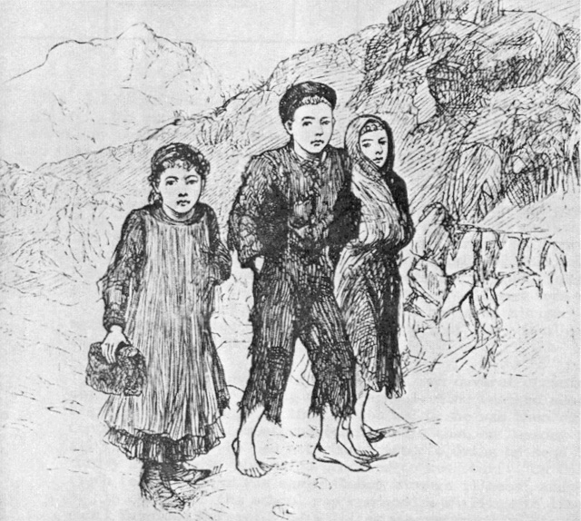 Children carrying turf to school 1879. Picture from The National School System 1831-1924 Facsimile Documents Public Records Office of Ireland, State Papers
