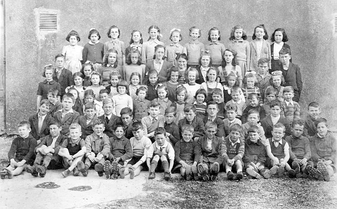 Pupils from Kilchreest National School, Co Galway, photographed about 1947