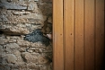The partially removed wainscotting from the walls of Lettermore National School in Co. Donegal built in 1909