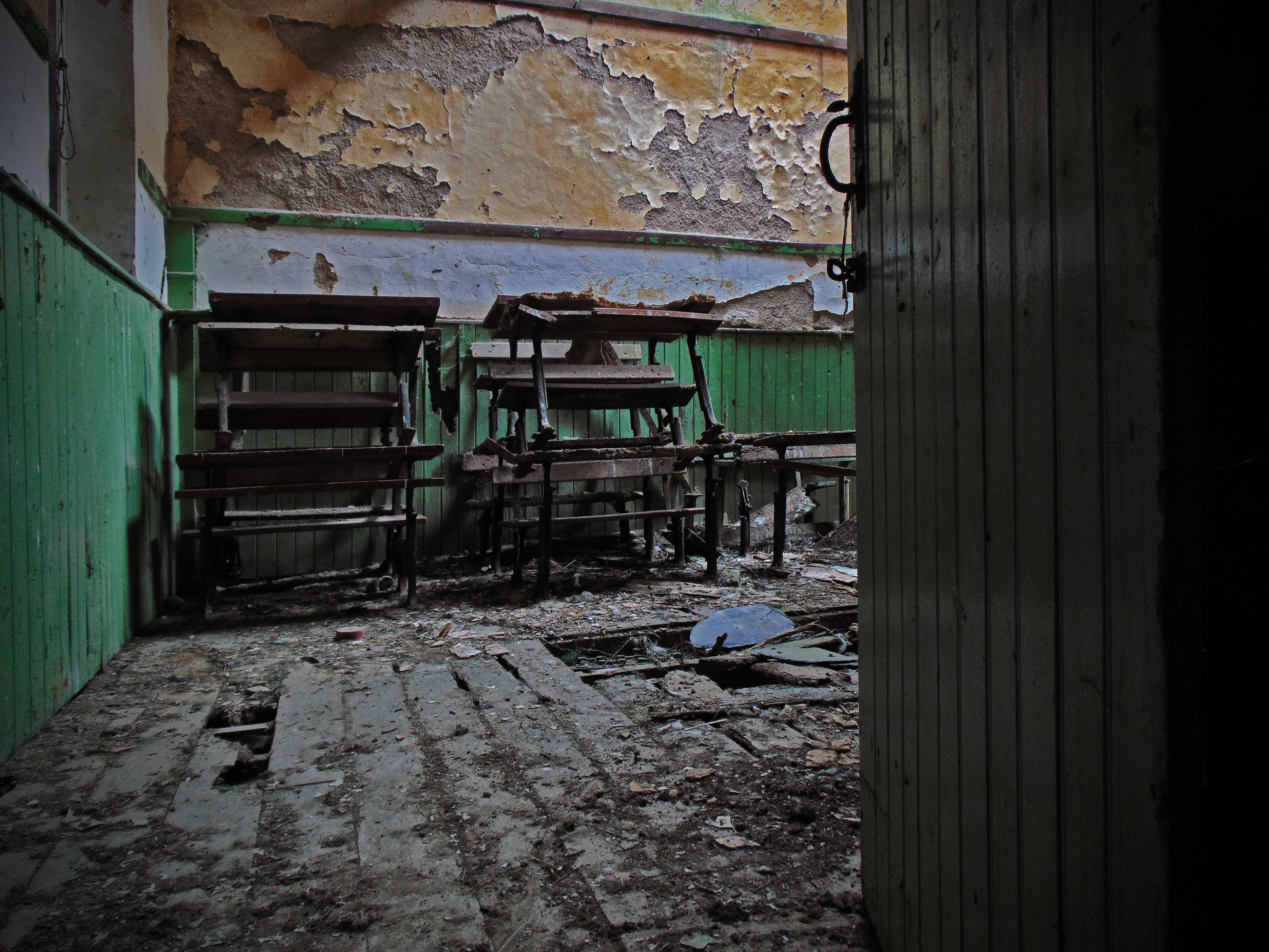 Furniture piled inside the smaller of the two classrooms at Leitir National School