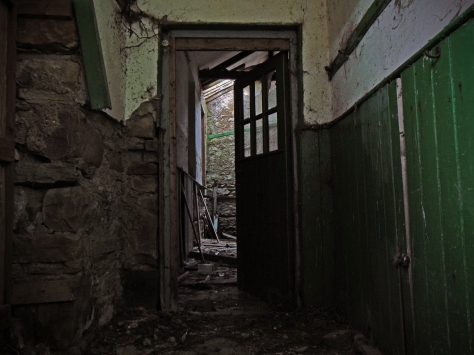 The wainscotting along the hallway at Leitir National School