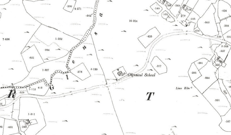 THe First Edition 25-inch Ordnance Survey Sheet showing the earlier school house at Greenaun at the turn of the 20th Century