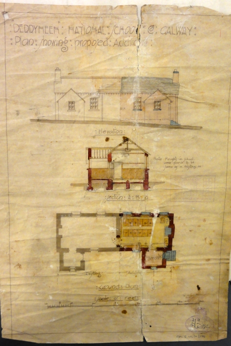 The original architect's drawings for Derryneen National School, in Co. Galway drawn up in 1914 (National Archives OPW5HC4872)