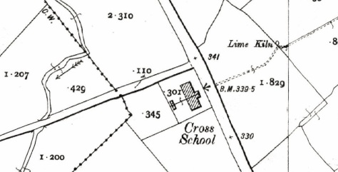 First Edition 25-Inch Ordnance Survey Sheet showing Cross (St. Attracta's) National School at Cross was built c.1886