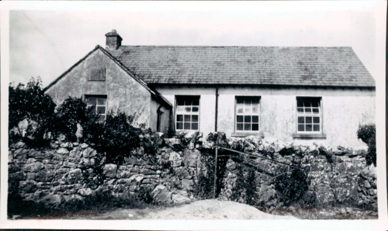 Kilnaboy National School c.1940 with the old school wall still standing