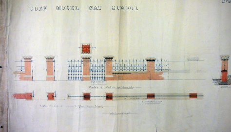 Original Architectural drawings draughted by the Office of Public Works for the enclosing walls of the Model National School in Cork City (c.1865)