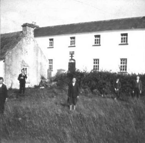 Tryhill/Islandcase National School 1908 - Laurence J Logan. The crude cross over the doorway can be seen in the background painted black