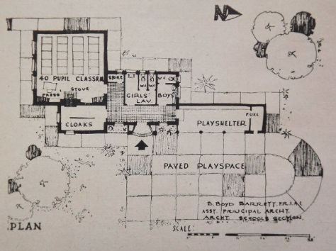 Original Sketch Plan for Ballymacelligott National School, Co. Kerry by Basil Boyd-Barrett (Irish Builder and Engineer, April 12 1952)